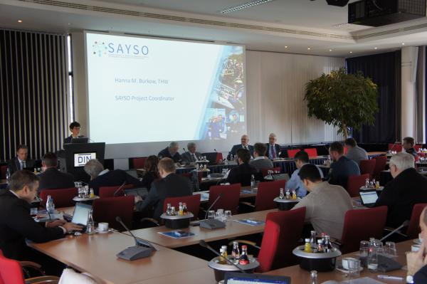 Hanna Burkow (THW), SAYSO Project Coordinator, introducing the SAYSO project at the SAYSO public workshop